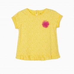 BABY GIRL T-SHIRT 'DOTS', YELLOW