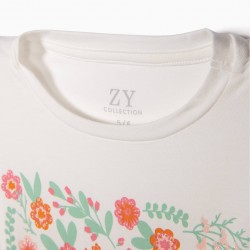 BLOSSOM GIRL LONG SLEEVE T-SHIRT, WHITE