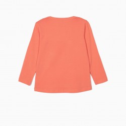 LONG SLEEVE T-SHIRT FOR GIRL 'POSITIVE FACE', ORANGE
