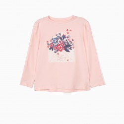 FLOWERS' LONG SLEEVE T-SHIRT FOR GIRLS, PINK