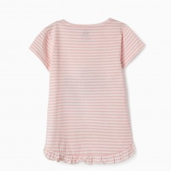 T-SHIRT FOR GIRL 'MINNIE', PINK AND WHITE