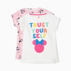 2 GIRLS 'MINNIE TRUST YOURSELF' T-SHIRT, WHITE AND PINK