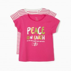 2 T-SHIRTS FOR GIRLS 'PEACE', PINK