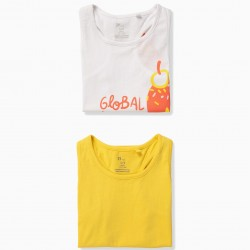 2 TOPS FOR GIRL 'ICE CREAM', WHITE AND YELLOW