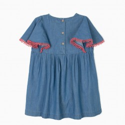 GIRL'S DENIM BLOUSE WITH EMBROIDERY, BLUE