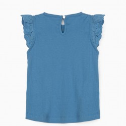 RIBBED T-SHIRT FOR BABY GIRL, BLUE