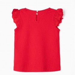 RIBBED T-SHIRT FOR BABY GIRL, RED