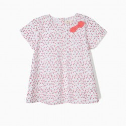 BLOUSE FOR GIRLS FLOWERS, WHITE AND PINK