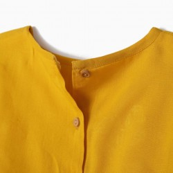 GIRLS BLOUSE WITH EMBROIDERY, YELLOW