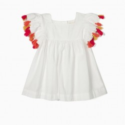 GIRL BLOUSE WITH TASSELS, WHITE