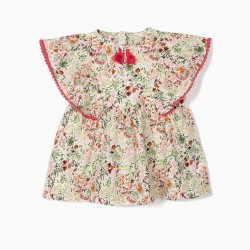 BLOUSE FOR GIRLS 'FLOWERS' WITH TASSELS, WHITE