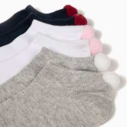 3 PAIRS OF GIRL'S SHORT SOCKS WITH POMPOMS, MULTICOLOR