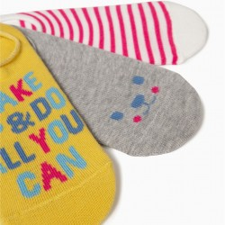 3 INVISIBLE SOCKS FOR GIRLS, MULTICOLOR