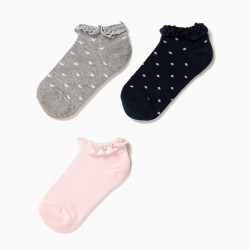 3 PAIRS OF LACE SOCKS FOR GIRLS, MULTICOLOR