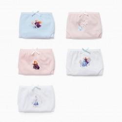 5 GIRL'S BRIEFS 'FROZEN II', WHITE / PINK / BLUE