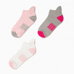 3 PAIRS OF SPORTS SOCKS FOR GIRLS, MULTICOLOR