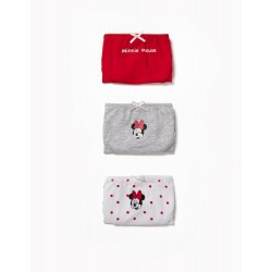 PACK 3 GIRLS 'MINNIE' BRIEFS, RED AND WHITE