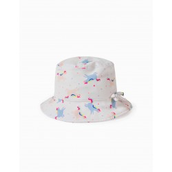 UV 80 PROTECTION HAT FOR GIRLS AND BABY 'UNICORNS', WHITE