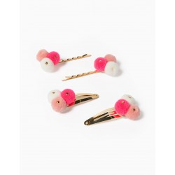 2 HOOKS AND 2 INDENTS FOR GIRLS 'POMPONS', GOLD