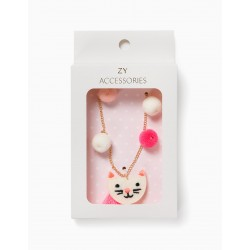 CUTE CAT GIRL NECKLACE, GOLDEN / WHITE / PINK