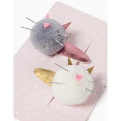 2 HAIRPINS FOR GIRLS 'CUTE CATS', GRAY / WHITE