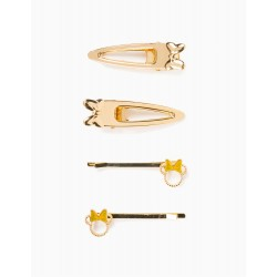 4 HAIRPINS FOR GIRLS 'MINNIE', GOLD