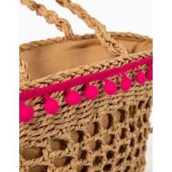 STRAW BAG WITH POMPOMS FOR GIRLS, BEIGE / PINK