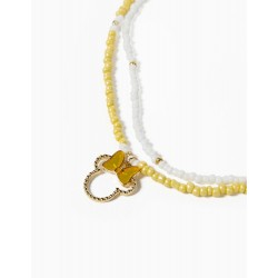 DOUBLE NECKLACE FOR GIRLS 'MINNIE', WHITE / YELLOW / GOLD