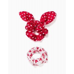 2 SCRUNCHIES FOR GIRLS 'MINNIE', WHITE / RED