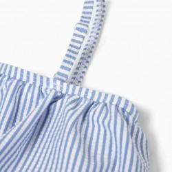 BIKINI FOR GIRLS 'STRIPES' ANTI-UV 80, BLUE AND WHITE