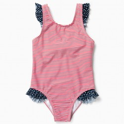 GIRL'S 'STRIPES AND POLKA DOTS' SWIMSUIT UV 80 ANTI-SCRATCH, RED