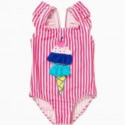 BABY GIRL SWIMSUIT 'ICE CREAM', PINK AND WHITE