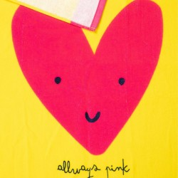 BEACH TOWEL FOR GIRLS 'ALWAYS PINK', YELLOW AND PINK