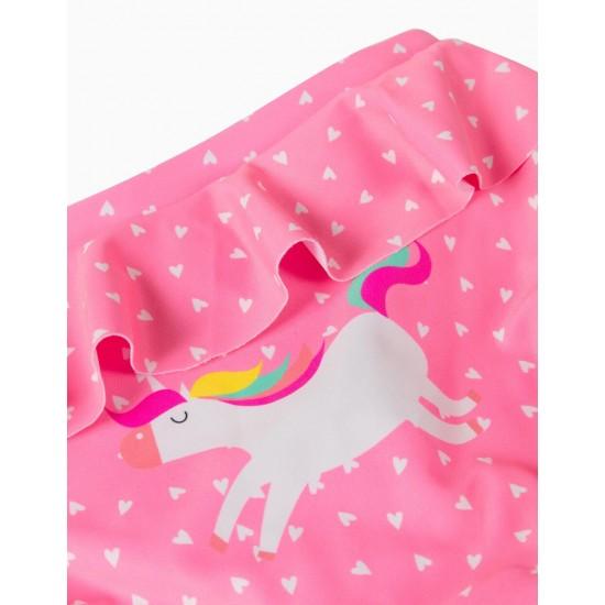 BABY GIRL 'UNICORN' UV 80 PROTECTION BATH BRIEFS, PINK