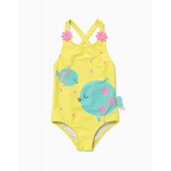 BABY GIRL 'FISH' SWIMSUIT UV 60 PROTECTION, YELLOW