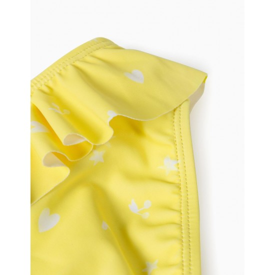PRINTED BATHING BRIEFS FOR BABY GIRL, YELLOW