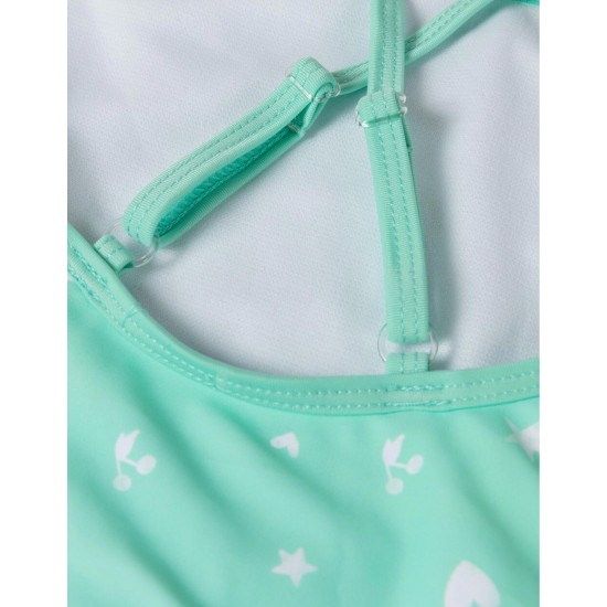 PRINTED SWIMSUIT FOR BABY GIRL, WATER GREEN