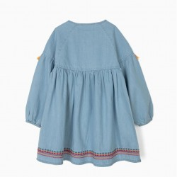 GIRLS' DENIM DRESS WITH EMBROIDERY AND TASSELS, BLUE
