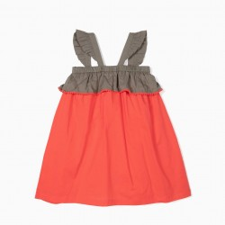 BICOLOR GIRL DRESS WITH RUFFLES, GREEN AND RED