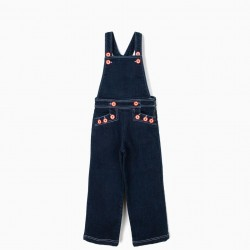 DENIM OVERALLS FOR GIRLS WITH BUTTONS, BLUE