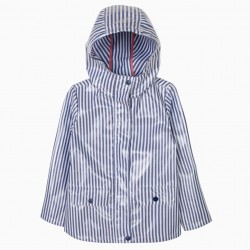 GIRLS BLUE AND WHITE STRIPED HOODED WATERPROOF PARKA