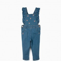 GIRLS DENIM DUNGAREES WITH RUFFLES AND FLOWERS, BLUE