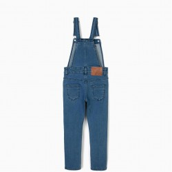 DENIM DUNGAREES FOR GIRLS, BLUE