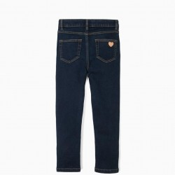 GIRLS JEANS WITH RUFFLES, DARK BLUE