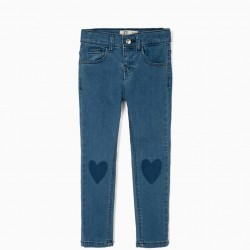 GIRL'S JEANS WITH HEARTS, BLUE