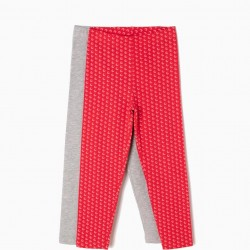 2 LEGGINGS FOR GIRLS GREY AND RED