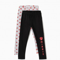 2 LEGGINGS FOR GIRLS 'MINNIE', BLACK AND GRAY