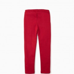 GIRL'S CREASED LEGGINGS, RED