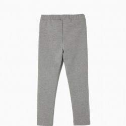 GIRL'S CREASED LEGGINGS, GRAY