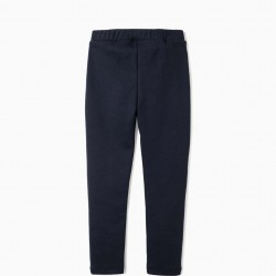 GIRL'S CREASED LEGGINGS, DARK BLUE